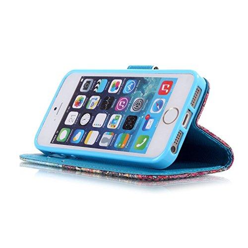 Meet de Folio Apple iPhone SE Case ,Wallet flip étui en cuir / Pouch / Case / Holster / Wallet / Case pour Apple iPhone SE PU Housse / en cuir Wallet Style de couverture de cas Coque pour téléphone po AE002