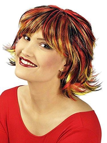 Kurzhaar Perücke Pixie Schwarz Rot Gelb - Schöne, gesträhnte Bob Perücke für Damen zu Hippie oder (Schwarze Hippie Erwachsene Perücke)