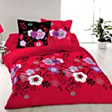 Persia (Rojo) - SoulBedroom Juego de cama, 100% Algodn (funda de edredn 140x200 cm y 1 funda de almohada 50x70 cm)