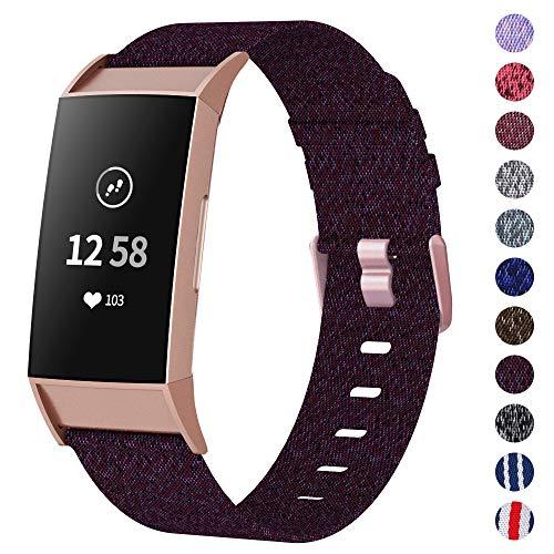 XIMU Armband Kompatibel mit Fitbit Charge 3 Armband/Charge 3 SE Armband, gewebter weicher atmungsaktiver Stoff Ersatzarmbänder Gurt Sportzubehör für Frauen, Männer (Pflaume, L)