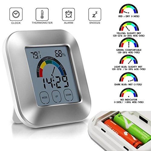 LCLrute Hochwertige Innen-Thermometer Luftfeuchtigkeit Monitor Touchscreen Hintergrundbeleuchtung Timer Digitalanzeige ( 0°C ~ 50°C) (Silber)
