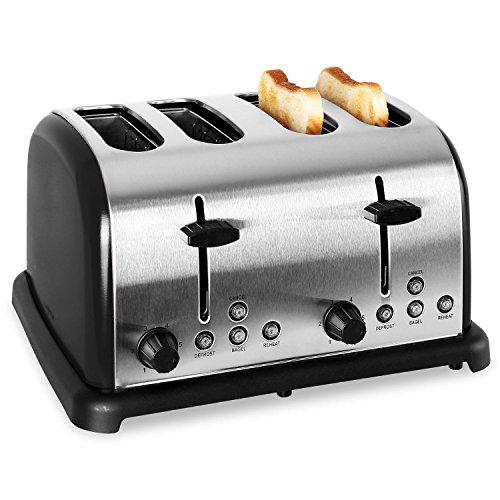 Klarstein TK-BT-211-B Toaster 4-Scheiben-Toaster Vierschlitz-Toaster Edelstahl Vintage-Design 1650 Watt Bagel-Funktion Auftau- und Aufwärm-Funktion 6-stufig einstellbarer Bräunungsgrad schwarz