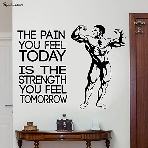df16d0decd62 guijiumai Die Schmerzen, die Sie Heute fühlen Motivierende Vinyl  Wandaufkleber Zitate Fitness Muscle Men Gym Decor Krafttraining Tapete  Wandbild ...