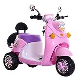 QXMEI Kinder-Elektro-Motorrad Dreirad Junge Mädchen Kann Menschen Kind Spielzeug Fernbedienung Auto 2 bis 6 Jahre Alt Sitzen,Pink