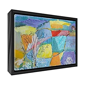Feel Good Art Giclee Printed Canvas with Solid Black Wooden Frame Surround &ltWiltshire Countryside&gt 34 x 24 x 3cm (Small), Wood Multicoloured, 34 x 24 cm
