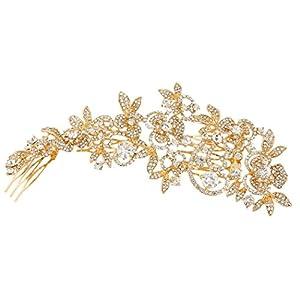 Ever Faith Damen Österreichische Kristall Zircon Braut Blume Blatt Cluster Haarkamm