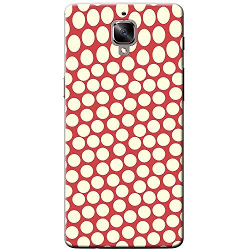 Menge von Punkten Rot & Creme Hartschalenhülle Telefonhülle zum Aufstecken für OnePlus 3T -
