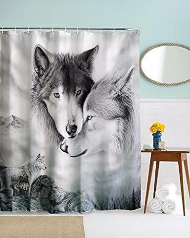 Rideau Animaux - A.Monamour Image En Noir Et Blanc Loup