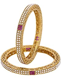 Adwitiya 24k Gold Plated Ruby Stones And Pearl Studded Traditional Antique Bangle Set For Womens