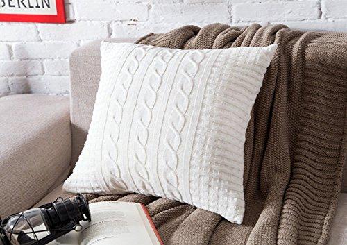 VClife® Baumwolle Zierkissenbezug 45*45cm Stricken Knopf Dekokissen Sofa Bett Zimmer Auto Kissenhülle Ohne Füllung Weiß (Knopf Stricken Baumwolle)