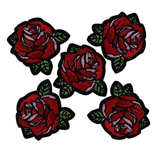 XUNHUI Wunderschöne Aufnäher Motiv Rote Rose/Blume zum Aufbügeln gestickt für Stoff Cartoon-Aufnäher Kleidungs-Applikationen Bastel-Zubehör 5 Stück -