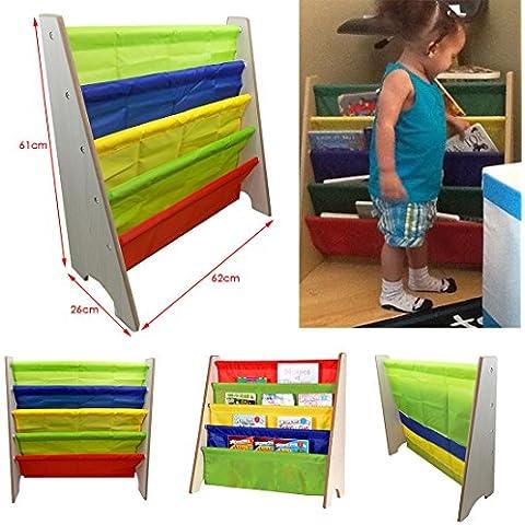 JJOnlinestore–Multi Color madera Sling–Estantería Rack de almacenamiento organizador book-shelf ordenado de niños Kids Dormitorio/Sala de juegos Primaria guardería muebles juguetes libros
