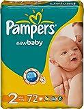 72 Pampers Windeln New Baby Gr. 2, 3-6 Kg, Baumwolle weich und mit ANATOMISCHER PASSFORM