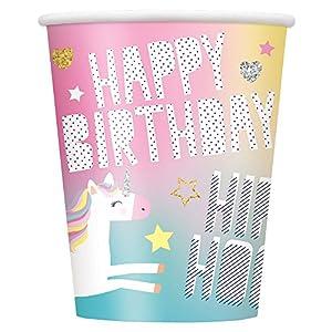 Unique Party 72496 - Juego de 8 vasos de papel de unicornio para fiestas, 295 ml
