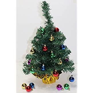 dobar-Holiday-Essentials-Weihnachtsbaum-Tischplatte-Kleiner-Baum-mit-bunten-Ornamentkugeln-und-Goldfarbener-Folienbasis