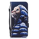 Ecoway Samsung Galaxy S8 Coque, Motif Peint Etui Portefeuille Flip PU Cuir Flip Cover Emplacement de Carte de Portefeuille Support Slots de cartes Case Cover Housse Etui Coque de Protection Pour Samsung Galaxy S8 - Chat d'art