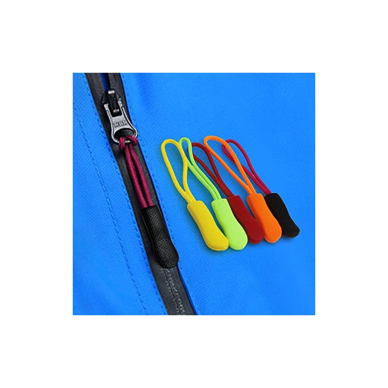 FineGood 80 Pieces Zipper Extension Pulls, 8 Colors, Nylon Cord Zipper Replacement Tag
