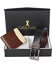 Creature Combo Of Brown-Cream Wallet For Men & Black-Brown Reversible Belt For Men(BL-01 WL-009)