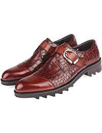 GRRONG Zapatos De Cuero De Los Hombres Trajes De Negocios Casuales Punta Banquete De Cuero