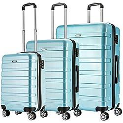 AMASAVA-Set of Tres Maletas Juego de Maletas Rígidas,Candado TSA, ABS+PC,4 Ruedas multidireccional, Azul