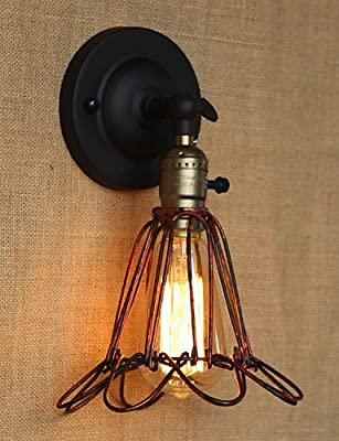 SSBY American Industrial-Style Fence Iron Net Red Bronze Decorative Wall Sconce