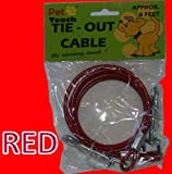 RED DOG ANIMAL PET GARDEN TIE OUT CABLE GROUND SPIRAL SCREW STAKE STRONG WIRE LEAD