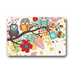 Daisylove Non-Slip Rubber Backing Durable Indoor/Outdoor Doormat Door Mats - Owls On The Tree Red Flowers Pink And Blue Leaves Colorful Life Design