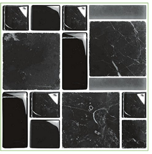 Pack of 10 Black stone marble effect multi Mosaic tile transfers stickers transfers stick on wall tile peel and stick size 6x6 kitchen bathroom