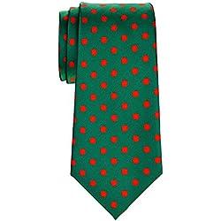 Retreez - Corbata de microfibra para hombre, diseño de lunares (varios colores) verde Green with Red Dots Talla única