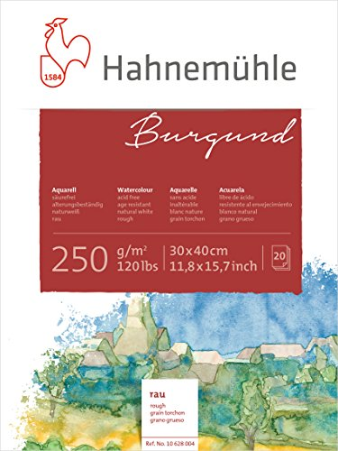 Hahnemühle Aquarellkarton Burgund, rau, 250 g/m², 30 x 40 cm, 20 Blatt