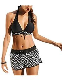 iBaste Cuello Colgante con Patrón Ondulado Impreso Bikini Pantalones Planos Traje de Baño Partido