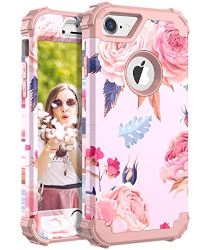 iPhone 7custodia, iPhone 8custodia, Obbcase [Heavy Duty] tre strati robusto ibrido armatura antiurto in silicone morbido, anti-impronte, coperchio di protezione per iPhone 7/8, fiore rosa