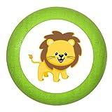 """Holz Bucheknauf """"Löwe"""" limette grün Holz Buche Kinder Kinderzimmer 1 Stück wilde Tiere Zootiere Dschungeltiere Traum Kind"""