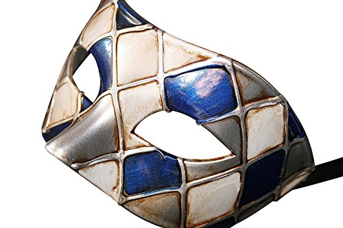 Harlekin Blau und Silber Antik Elfenbein Venezianische Maskerade Karneval Partei Augenmaske Maske (Maskerade Masken Blau)