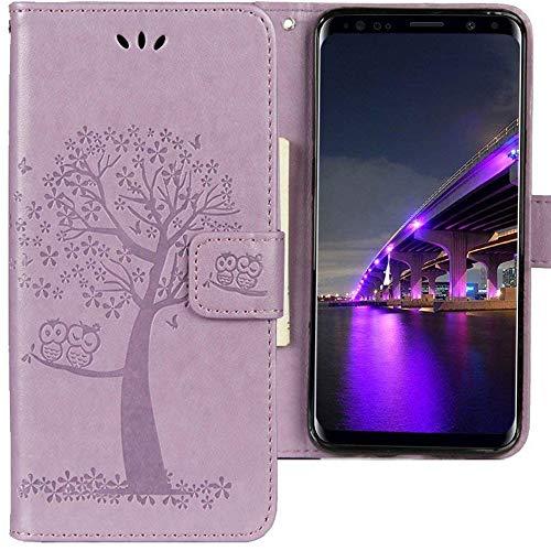 CLM-Tech kompatibel mit Samsung Galaxy S9 Plus Hülle, Tasche aus Kunstleder, Leder-Tasche Lederhülle, Baum Eule lila, PU Leder-Tasche für Galaxy S9 Plus Lederhülle
