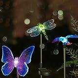 #5: Hardoll Solar Garden Lights,Hummingbird,Butterfly & Dragonfly Solar Garden Stake Light,Solar Powered Lights Outdoor Multi-color Changing LED Light,Solar Security Lights for Garden,Patio,Backyard(SET OF 3)