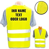 Personalisierte Warnweste Nach ISO 471 für Privat und Gewerbe * eigenes Logo Name Bild * Klasse 2/2 Sicherheitsweste, Farbe Warnweste:Gelb