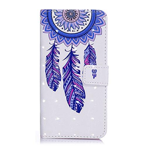 6 Plus Hülle, 6S Plus Hülle, iPhone 6 Plus Hülle, iPhone 6S Plus Hülle, iPhone 6 Plus / iPhone 6S Plus Hülle Muster, iPhone 6 Plus / 6S Plus Leder Wallet Tasche Brieftasche Schutzhülle, BONROY 3D Bunt Blaue Feder Windspiele