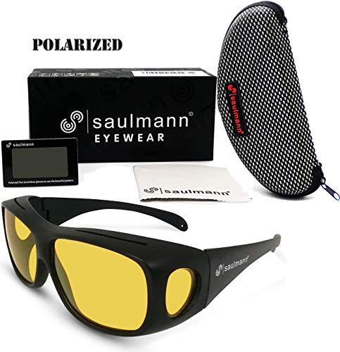 Saulmann® ✅ Polarisierte Unisex Überzieh Blendschutzbrille - Kontrast Outdoor- & Nacht Fahrbrille mit UV-Schutz gegen blendendes Licht und Antireflexbeschichtung - Polbrille SM5775