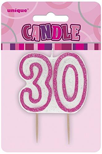 Unique Party - 34403 - Bougie - 30ème Anniversaire - Rose Glitz 0011179344031