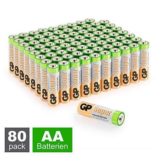 GP Batterien AA (Mignon, LR6) 1.5V, 80 Stück Großpackung, Super Alkaline Longlife Technologie, 8X 10er Pack