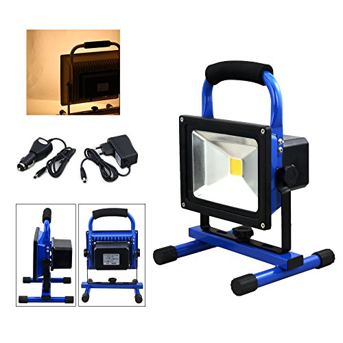 fsders VINGO 30W LED Akku Strahler IP65 Arbeitsleuchte Baustrahler Fluter Handlampe Warmweiß, aluminium,