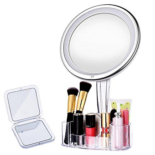 Make-Up-Spiegel Schminkspiegel,LiSmile LED Kosmetikspiegel mit 10- facher Vergrößerung, Make-up Spiegel mit Kosmetik Aufbewahrung und Taschenspiegel, 360 Grad Drehung, Schminkspiegel mit warmem LED- Licht für Zuhause und Unterwegs (Warmes Zuhause)