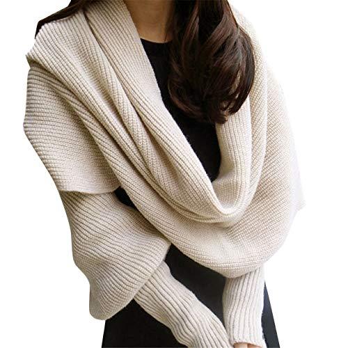 Sciarpe invernali donna,casual moda elegante caldi morbido scialle delle sciarpe dell'involucro dell'involucro della manica della lana del knit caldo (taglia unica, beige)