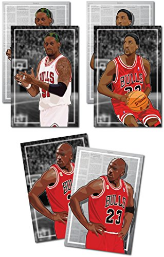 Oakley Graphics 3 Poster der NBA Chicago Bulls - Michael Jordan, Scottie Pippen, Dennis Rodman Art Prints - Kaufen 1 Get 2 Gratis, 3 Total Drucke (beidseitigen) Medium Set - 12