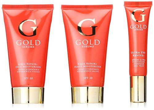 GOLD SERUMS Coffret Anti-Age Crème Hydratante Aqua pour Visage + Soin Pur pour Main/Soin Contour des Yeux Ultra Ravive 3 Bouteilles de 100 ml