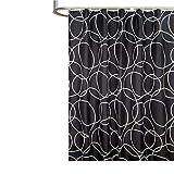 Bishilin Antischimmel 3D Duschvorhang 80x180 Schwarz Kreise Lustiger 3D Duschvorhang