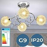 Deckenleuchte mit modernen Glas-Drahtkugel - EEK: A++ bis E, Ø36cm, 4-flammig, für G9 - Deckenlampe, Badlampe, Schlafzimmerleuchte - für Wohnzimmer, Badzimmer, Schlafzimmer, Flur, Esszimmer, Küche