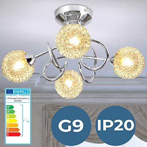 Lampe de Plafond - CEE: A++ à E, Ø36cm, 4 flammes, G9, Ronde, IP20, Moderne, en Fil Métallique - Plafonnier, Lustre - pour Salon, Cuisine, Couloir, Chambre