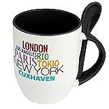 Städtetasse Cuxhaven - Löffel-Tasse mit Motiv Famous Cities in the World - Becher, Kaffeetasse, Kaffeebecher, Mug - Schwarz